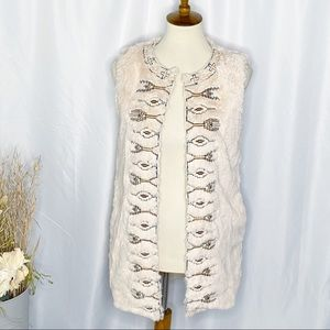 Flying Tomato Cream Embroidered Faux Fur Vest